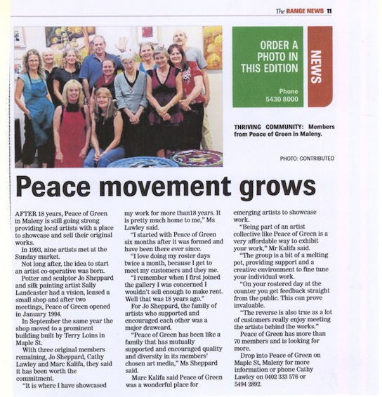 Range News Peace Movement Grows