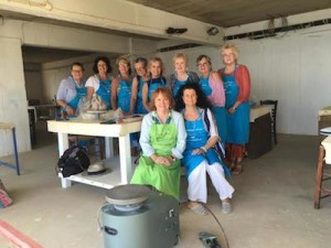 The group photo, our first day in the pottery studio!